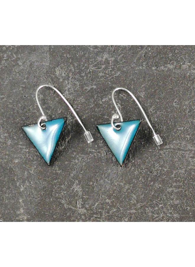 Triangular enamel drop earrings teal 13