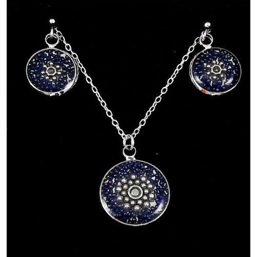 Nimanoma Obsidian Set Round Art pendant & earring  22