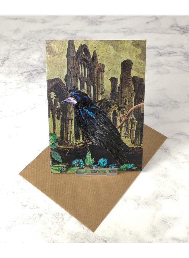 Whitby Abbey Vintage Glitter Card