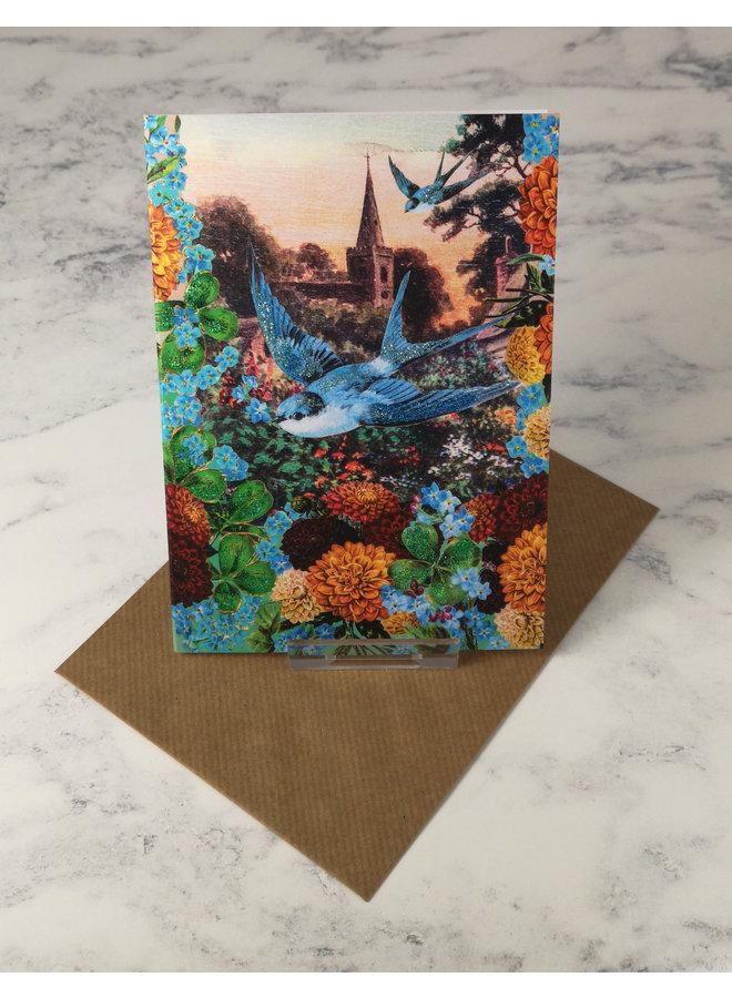Bluebird Vintage Glitter Card 40