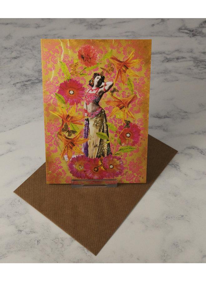 Fuchsia Dancer Vintage Glitter Card