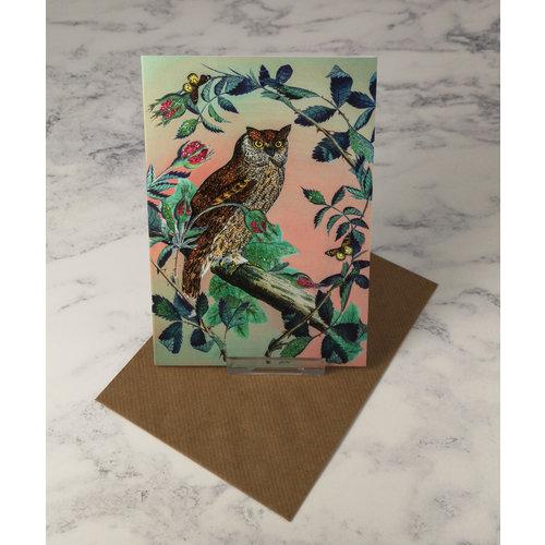 Diana Wilson Owl Vintage Glitter Card
