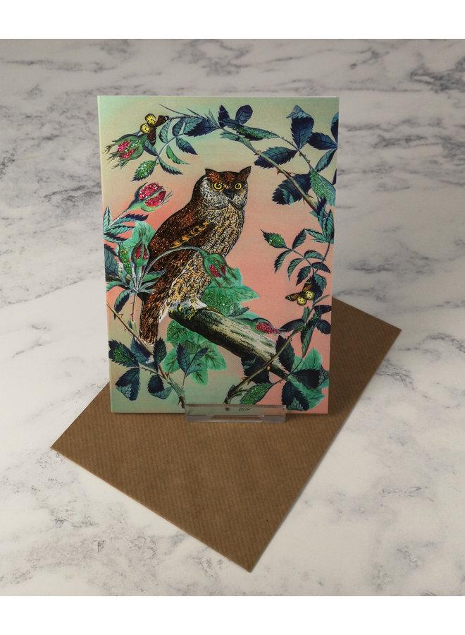 Owl Vintage Glitter Card