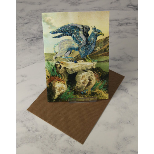 Diana Wilson Blue Gryphon  Vintage Glitter Card 55