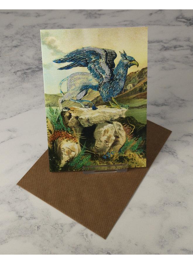 Blue Gryphon  Vintage Glitter Card 55