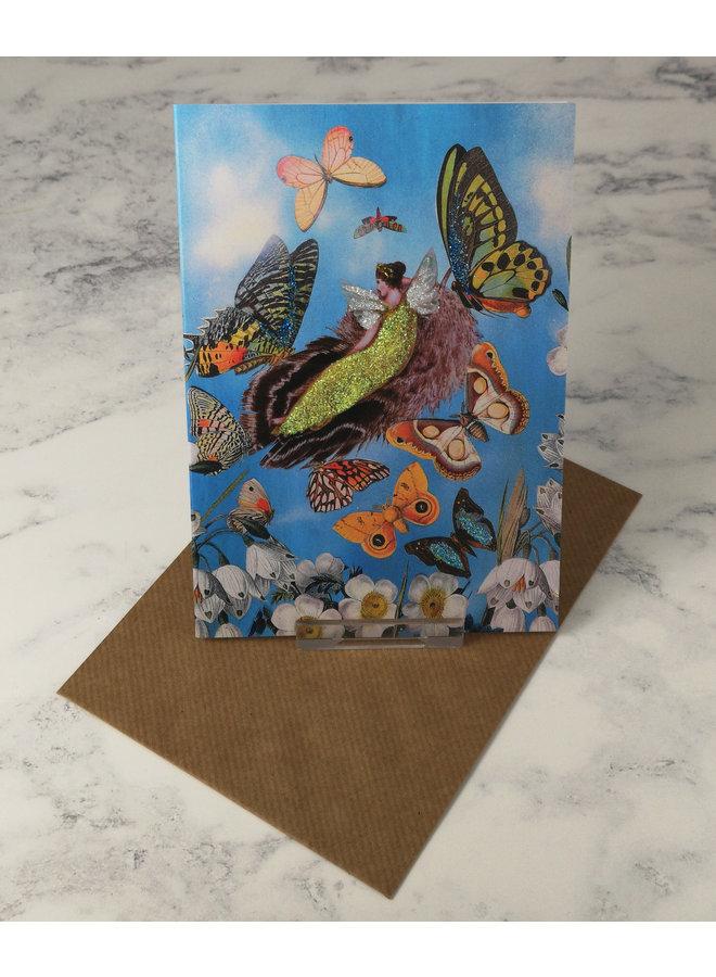 ButterFairy Vintage Glitter Card