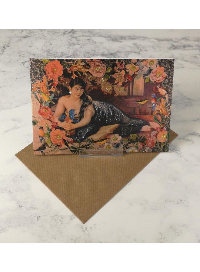 China Girl  Vintage Glitter Card