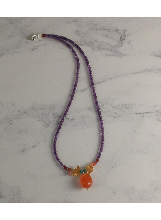 Karneol-Amethyst-Halskette zur Sonnenwende 42