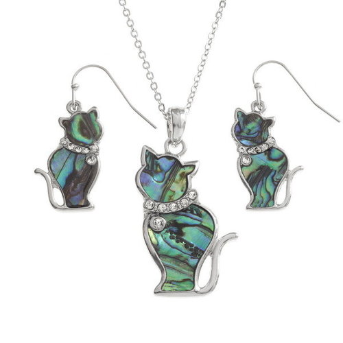 Tide Jewellery Cat sitting  Paua shell  necklace 122