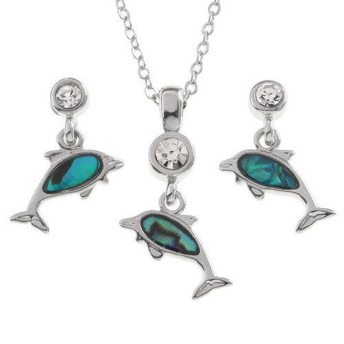 Tide Jewellery Delfines pequeños pendientes de concha de Paua 120