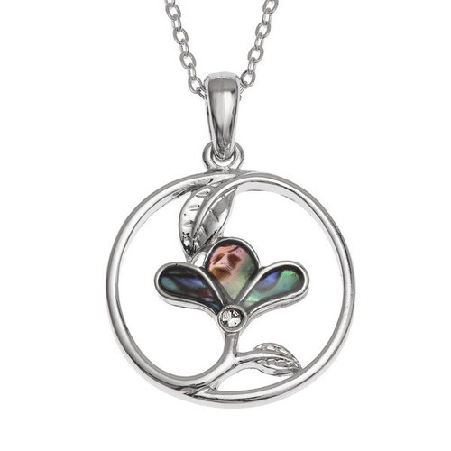 Tide Jewellery Flower in circle shell necklace 128