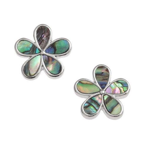 Tide Jewellery Pendientes de botón de flor de pétalo paua shell 134