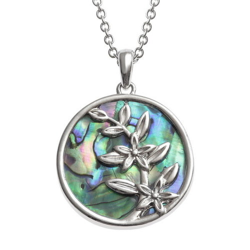 Tide Jewellery Flower Sprig in circle shell necklace 129