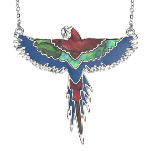 Tide Jewellery Flying Macaw 2 paua shell necklace 130