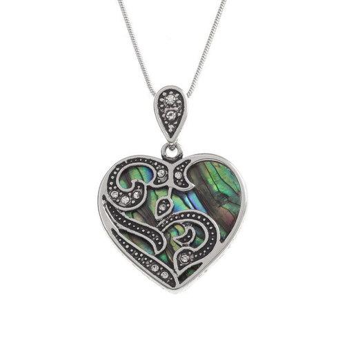 Tide Jewellery Collar de concha de Paua con incrustaciones de corazón 99