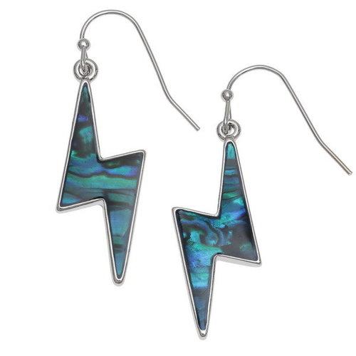 Tide Jewellery Lightening bolt  paua shell drop earrings 135