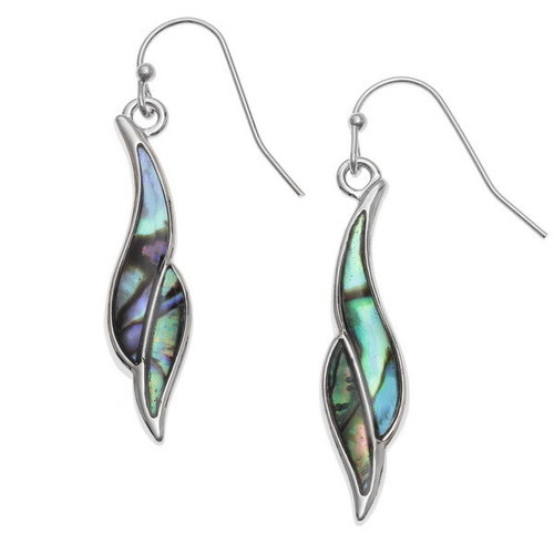 Tide Jewellery Long twist paua shell drop earrings 133
