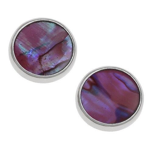 Tide Jewellery Aretes redondos de concha de paua rosa 132