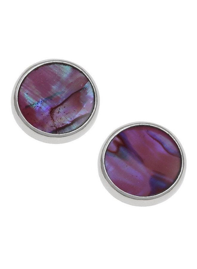 Runde Ohrstecker aus rosa Paua-Muschel 132