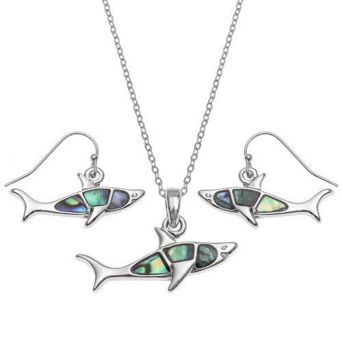 Tide Jewellery Pendientes concha de tiburon paua 114