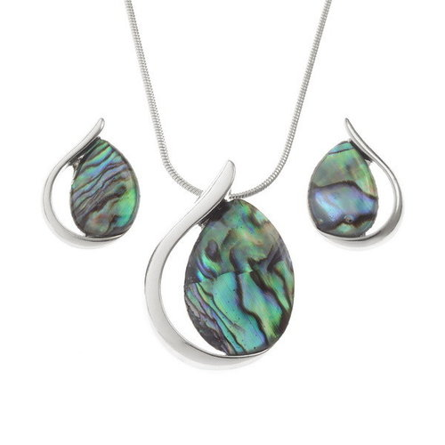 Tide Jewellery Pendientes de botón de concha de Paua 126