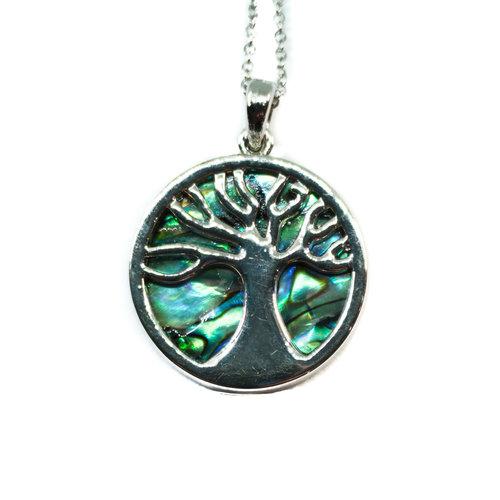 Tide Jewellery Collar de concha de Paua con incrustaciones de árbol de la vida 073N