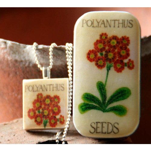 Leigh Shepherd Designs Polyanthus Scrabble T Tile Pendant and Tiny Tin 10
