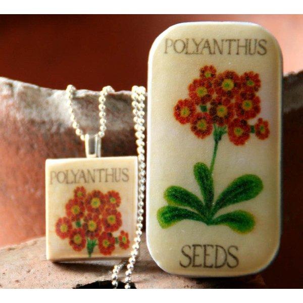Polyanthus Scrabble T Tile Pendant and Tiny Tin 10