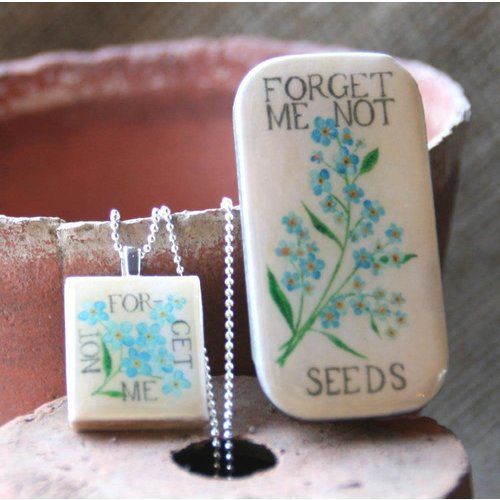 Leigh Shepherd Designs Forget me Not  Scrabble O Tile Pendant and Tiny Tin 08