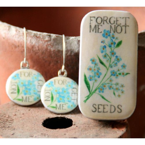 Leigh Shepherd Designs Forget me Not Sixpence Earrings in Tiny Box 27