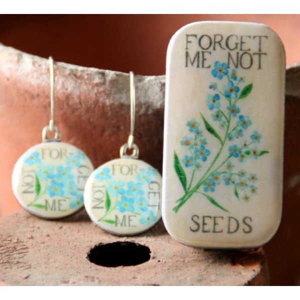 Forget me Not Sixpence Earrings in Tiny Box 27