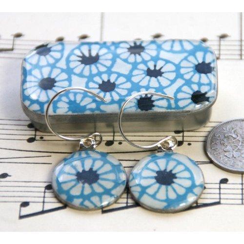 Leigh Shepherd Designs Batik sixpence earrings in Tiny Tin 38