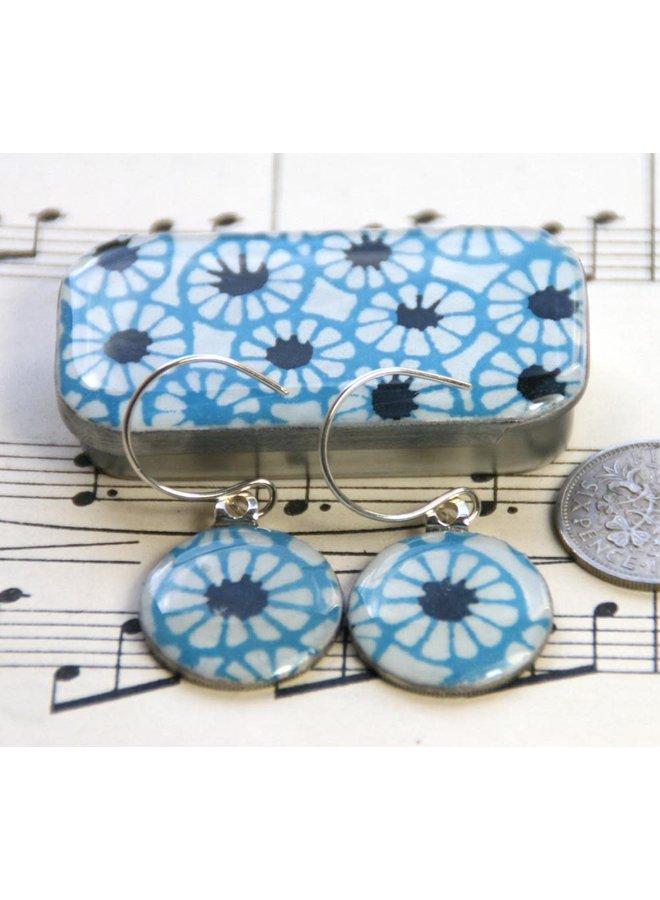 Batik sixpence earrings in Tiny Tin 38