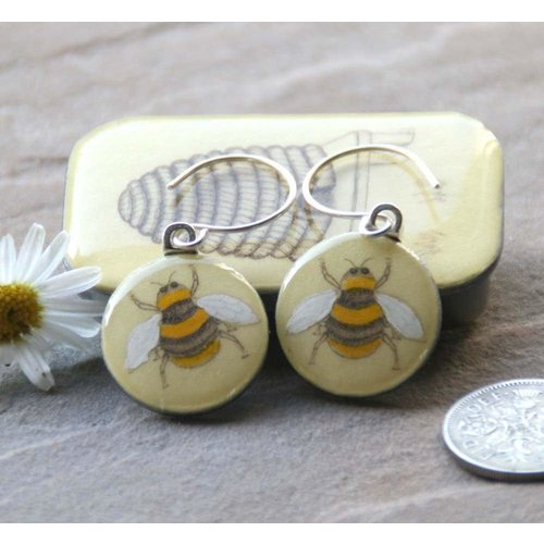 Leigh Shepherd Designs Bee sixpence earrings in Tiny Tin 44