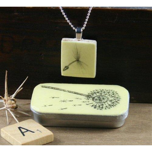 Leigh Shepherd Designs Dandelion Scrabble E Tile Pendant and Tin 07
