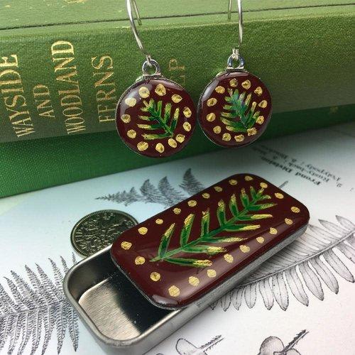 Leigh Shepherd Designs Woodland Burgundy sixpence earrings in Tiny Tin 42