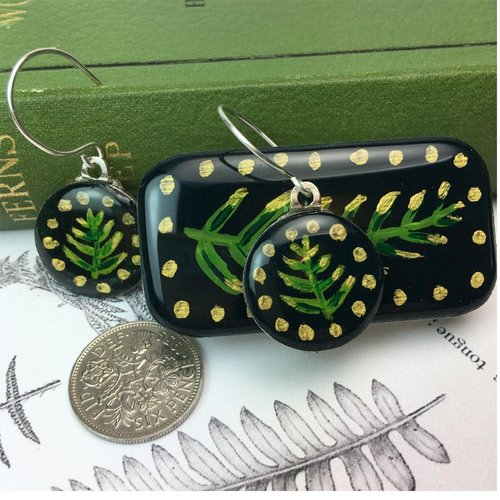 Leigh Shepherd Designs Woodland Forest sixpence earrings in Tiny Tin 43