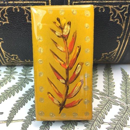 Leigh Shepherd Designs Woodland Mustard Domino Brooch on card  56