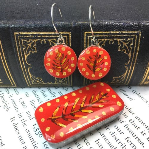 Leigh Shepherd Designs Woodland Red sixpence earrings in Tiny Tin 40