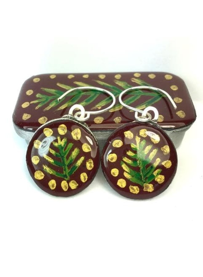 Woodland Burbundy Sixpence Ohrringe in Tiny Tin 42