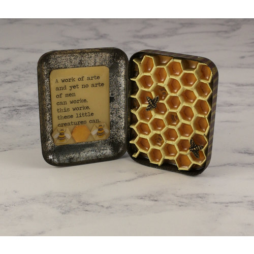 Leigh Shepherd Designs Bee and Hive Artwork in vintaege tin  65