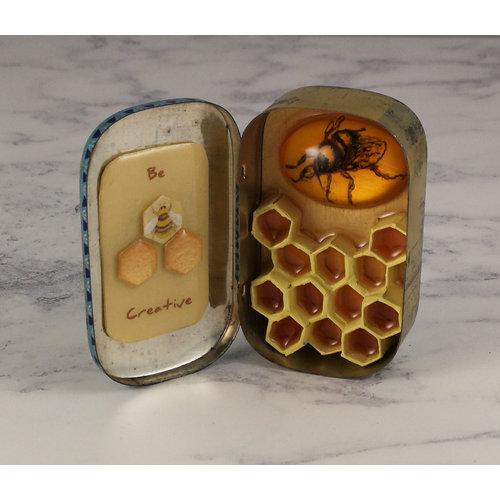 Leigh Shepherd Designs Bee and Hive Artwork in vintaege tin  64