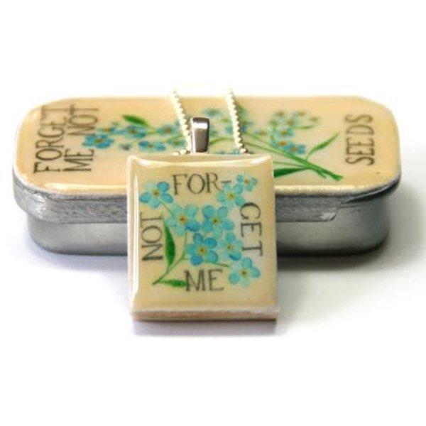 Vergiss mich nicht Scrabble O Tile Pendant und Tiny Tin 08