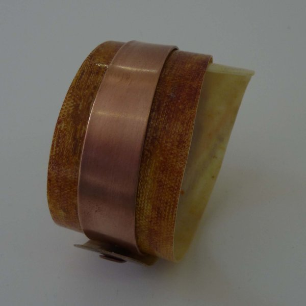 Bangle adjustable recylced Sienna - copper 09