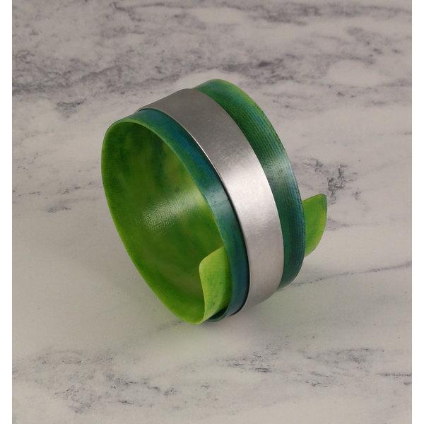 Bangle adjustable recylced Emerald - aluminium 17