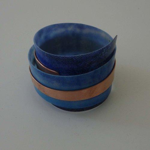 Anna Roebuck Armreif verstellbar recycelten Blues - Kupfer 11