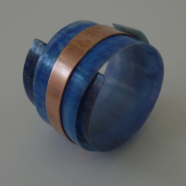 Bangle adjustable recylced blues - copper 11