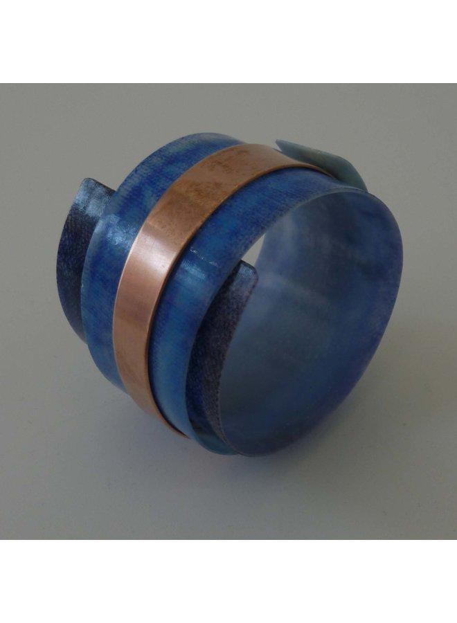 Armreif verstellbar recycelten Blues - Kupfer 11