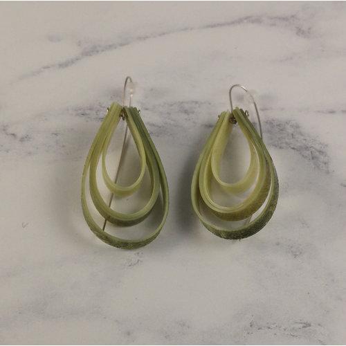 Anna Roebuck Layered teardrop  long hook olive earrings 63