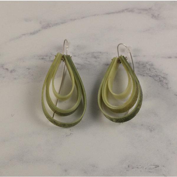 Layered teardrop  long hook olive earrings 63